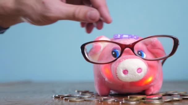 Prasátko s brýlemi účetní finančník konceptu. Peníze zásobníku hromadu krok rostoucí peníze a prasátko. Koncept úspory s prasátko a skládaný mince. Piggy bank mezi hromádek zlata životní styl