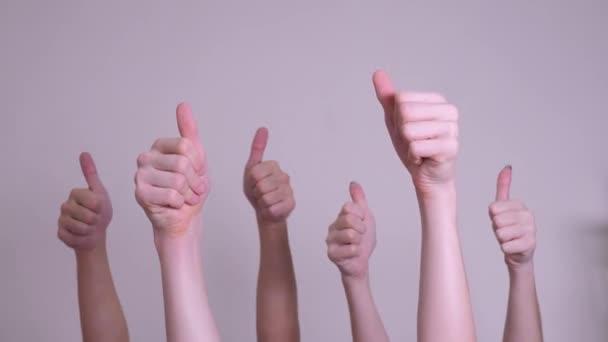 emberek egyetértésével és támogatásával fel ujját fel csapatmunka-szemlélet. tömeg az emberek sok kezet remek-megjelöl kezekkel kifejező egyetértésével és támogatásával. csapatmunka önkéntes életmód vagy szavazati