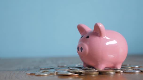Čuňasova banka stojí na hromadě mincí pro životní styl. Ruka dává do prasátko na žlutém pozadí minci. úspory peněz jsou investicí do budoucna. Bankovní investice a