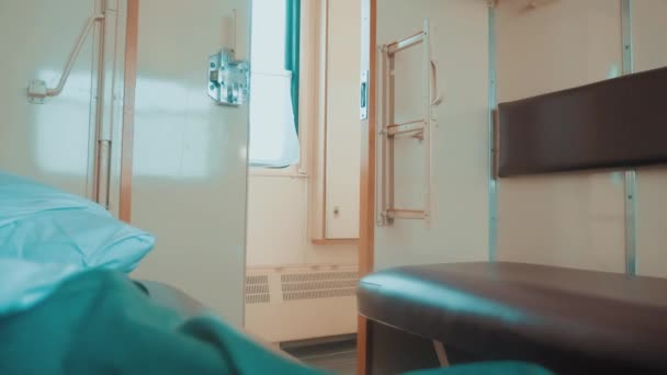interior wagon railway carriage inside a railroad car. concept train travel journey. view beautiful from the window of a moving train railway winter Russia. inside train lifestyle interior