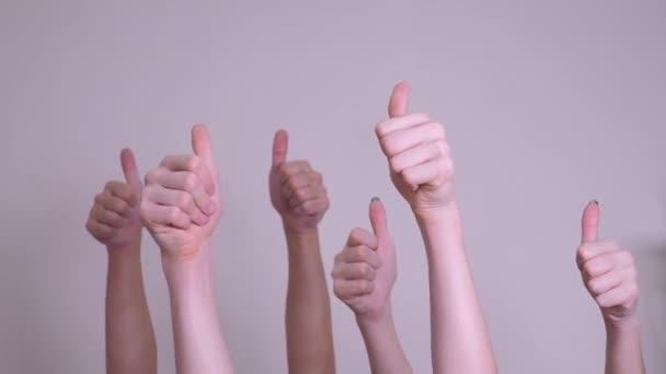 lidé souhlasí a podporují koncept týmové práce s prstem. dav lidí, mnoho rukou zdviženým rukama, vyjadřujících dohodu a podporu. životní styl dobrovolnické práce nebo hlasování