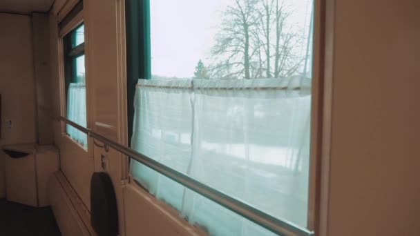 interior wagon railway carriage inside a railroad car. concept train journey travel. view beautiful lifestyle from the window of a moving train railway Russia winter. interior inside train