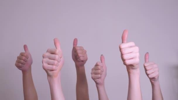 az emberek egyetértéssel és támogatással emelt ujjas csapatmunka koncepciót. tömeg az emberek sok kéz remek kezet kifejező megállapodás életmód és támogatás. önkéntes munka vagy szavazás
