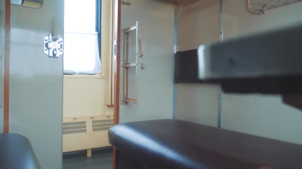interior wagon railway carriage inside a railroad car. concept train journey lifestyle travel. view beautiful from the window of a moving train railway winter Russia. inside train interior