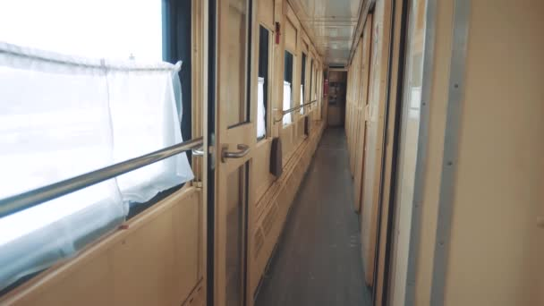 interior wagon railway carriage inside a railroad car. concept train journey travel. view beautiful from the window of lifestyle a moving train railway Russia winter. interior inside train