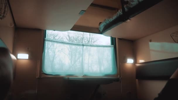 interior wagon railway carriage inside a railroad car. concept lifestyle travel journey train. view beautiful from the window of a moving train railway winter Russia. inside train interior