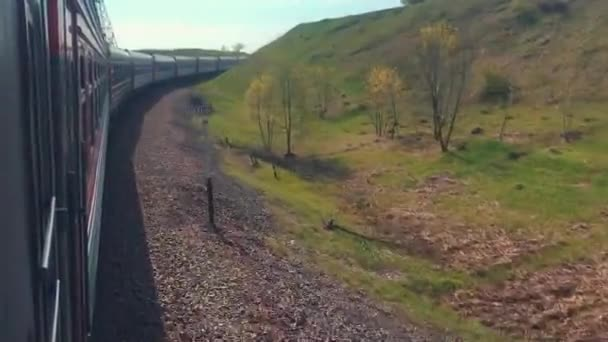railroad travel concept. locomotive train with passenger wagon carriages moving lifestyle by rail outside in nature beautiful view. tourism travel by the rail