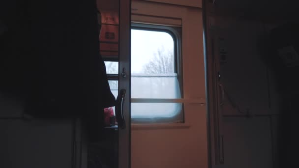 concept train journey travel. view beautiful from the window of a moving train railway trip lifestyle Russia winter. slow motion video. interior inside train