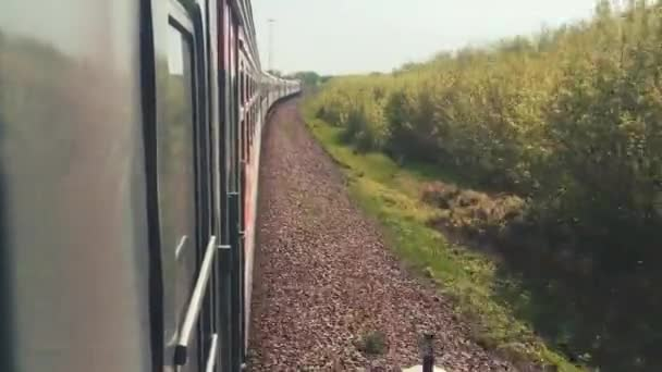 railroad travel concept. locomotive train with passenger lifestyle wagon carriages moving by rail in nature beautiful view outside. tourism travel by the rail
