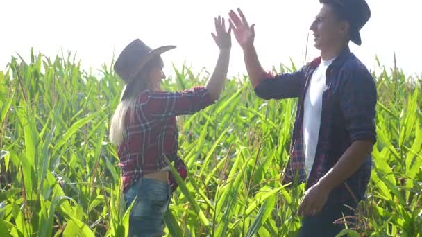 teamwork happy family smart farming concept slow motion video. girl and man shake hands meeting business contract agronomist holds digital tablet touch pad computer teamwork in the corn field is