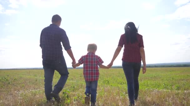 glücklich Familie Wandern Natur Teamwork Freundschaft Pflege Konzept Zeitlupe Video. Vater, Mutter und Sohn gehen in der Natur bei Sonnenuntergang Hand in Hand. glückliche Familie Eltern Mann und Mädchen halten Lebensstil kleiner Junge