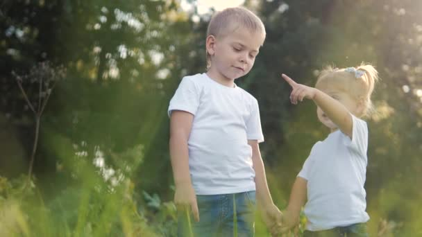 Happy family: little boy a and girl brother and sister hold hand on nature happy children concept. children look into shows his hand into the distance slow lifestyle motion video. childhood kids play