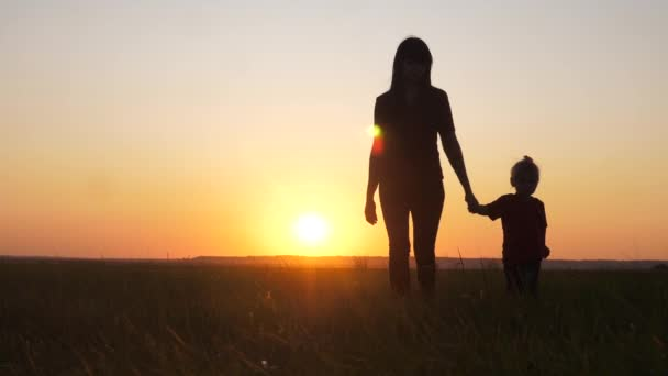 happy family a mom and daughter sunset silhouette in the park walking go slow motion. little girl and woman mom hold hand walk go the field lifestyle outdoors. happy family mom takes care of daughter