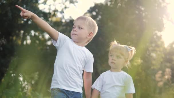 Šťastná rodina: malý chlapec a dívka bratr a sestra držet ruku v přírodě šťastný děti koncept. Děti životní styl podívat do ukazuje svou ruku do videa zpomalení vzdálenosti. dětské děti si hrají