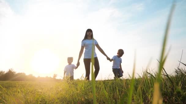 glückliche Familie lustige Spaziergänge gehen für sind Händchen halten eine Teamwork Silhouette. glückliche kleine Kinder Junge und Mädchen mit Mutter Familie bei Sonnenuntergang. Mutter und Sohn Mutter Tochter und Sohn in weißen T-Shirts gehen weiter