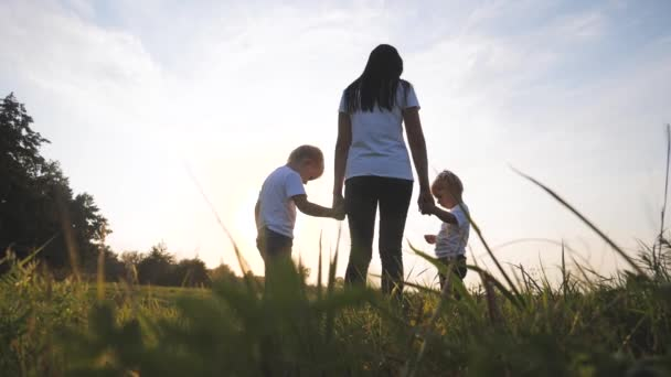 glückliche Familie lustige Spaziergänge gehen für sind Händchen halten eine Teamwork Silhouette. glückliche kleine Kinder Junge und Mädchen mit Mutter Familie bei Sonnenuntergang. Mutter und Sohn Mutter Tochter und Sohn in weißen T-Shirts gehen auf der