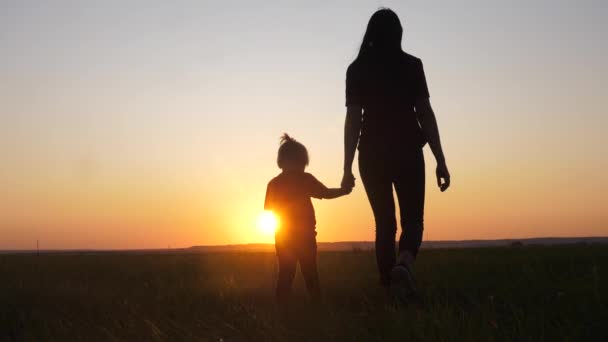 happy family a mom and daughter sunset silhouette in the park walking go slow motion. little girl and woman mom hold hand walk go the field outdoors. happy family mom takes care of daughter lifestyle