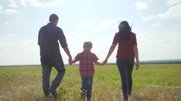 glücklich Familie Wandern Natur Teamwork Freundschaft Pflege Konzept Zeitlupe Video. Vater, Mutter und Sohn gehen in der Natur bei Sonnenuntergang Hand in Hand. glückliche Familie Eltern Mann und Mädchen halten kleinen Jungen Lebensstil