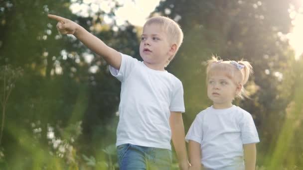 Šťastná rodina: malý chlapec a dívka bratr a sestra držet ruku na přírodě šťastný děti koncept životního stylu. děti se dívají do ukazuje jeho ruku do videa zpomalení na dálku. dětské děti si hrají