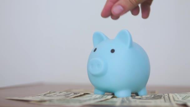 Prasečí banka stojí na papíře staré dolary a hromada mincí koncept. Ruka je uvedení mince v životním stylu prasátko banky na bílém pozadí. úspora peněz je investicí do budoucnosti