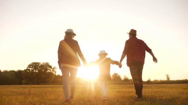 glückliche Familie zu Fuß Silhouette in Lebensstil die Park-Silhouette. freundliche Familien-Kind-Traum-Konzept. glückliche Familie, die Händchen haltend im Park auf dem Gras Sonnenuntergang. Freundschaftliche Traumfamilie zusammen