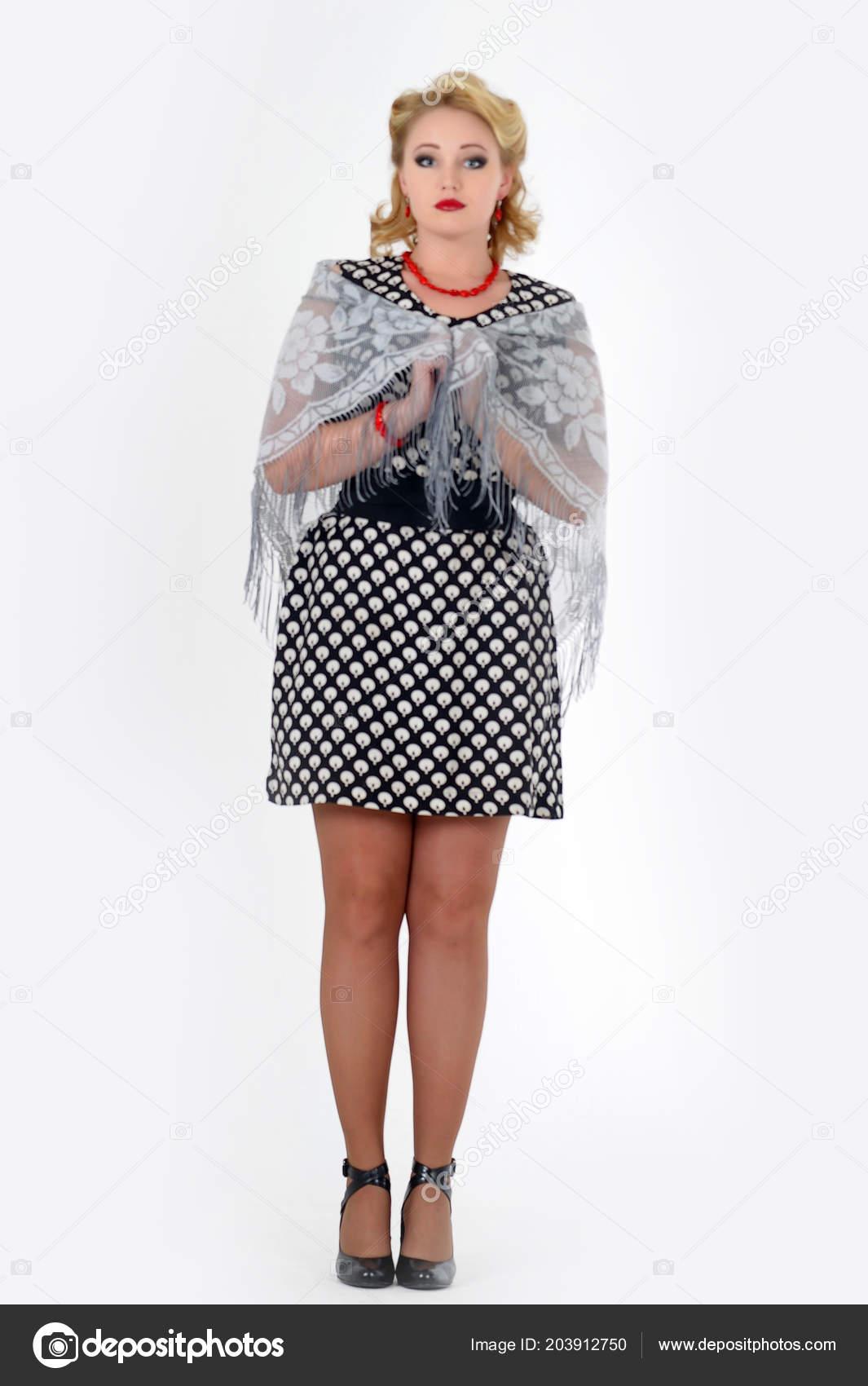 Retro Foto Stil Der 60er Jahre Frau Blondine Gepunkteten Kleid