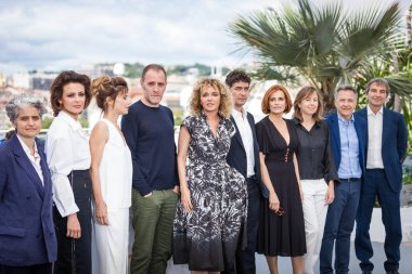 CANNES, FRANCE - MAY 15, 2018: Jasmine Trinca, Valentina Cervi, Valerio Mastandrea,  Valeria Golino, Riccardo Scamarcio and Isabella Ferrari attend the photocall for 'Euforia' during the 71st annual Cannes Film Festival