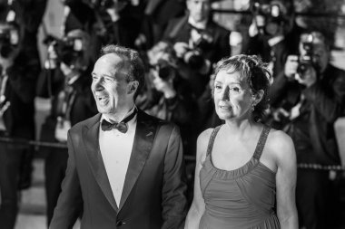 CANNES, FRANCE - MAY 16, 2018: Roberto Benigni with his wife Nicoletta Braschi attending the screening of 'Dogman' during the 71st annual Cannes Film Festival