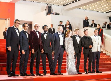 CANNES, FRANCE - MAY 20, 2019: Ariyon Bakare, Isabelle Huppert, Ira Sachs, Pascal Greggory, Jeremie Renier, Kevin Chneiweiss and Said Ben Said attends screening of