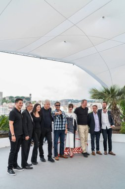 CANNES, FRANCE - MAY 24, 2019: Jonathan Yunger, Victor Hadida, Christa Campbell, Avi Lerner, Sylvester Stallone, Paz Vega, Yariv Lerner, Kevin King and Jeff Greenstein attend the photocall for Sylvester Stallone & Rambo V: Last Blood during the 72nd