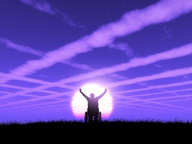 3D render of a male in wheelchair with arms raised against a purple sunset landscape with cloud trails in the sky