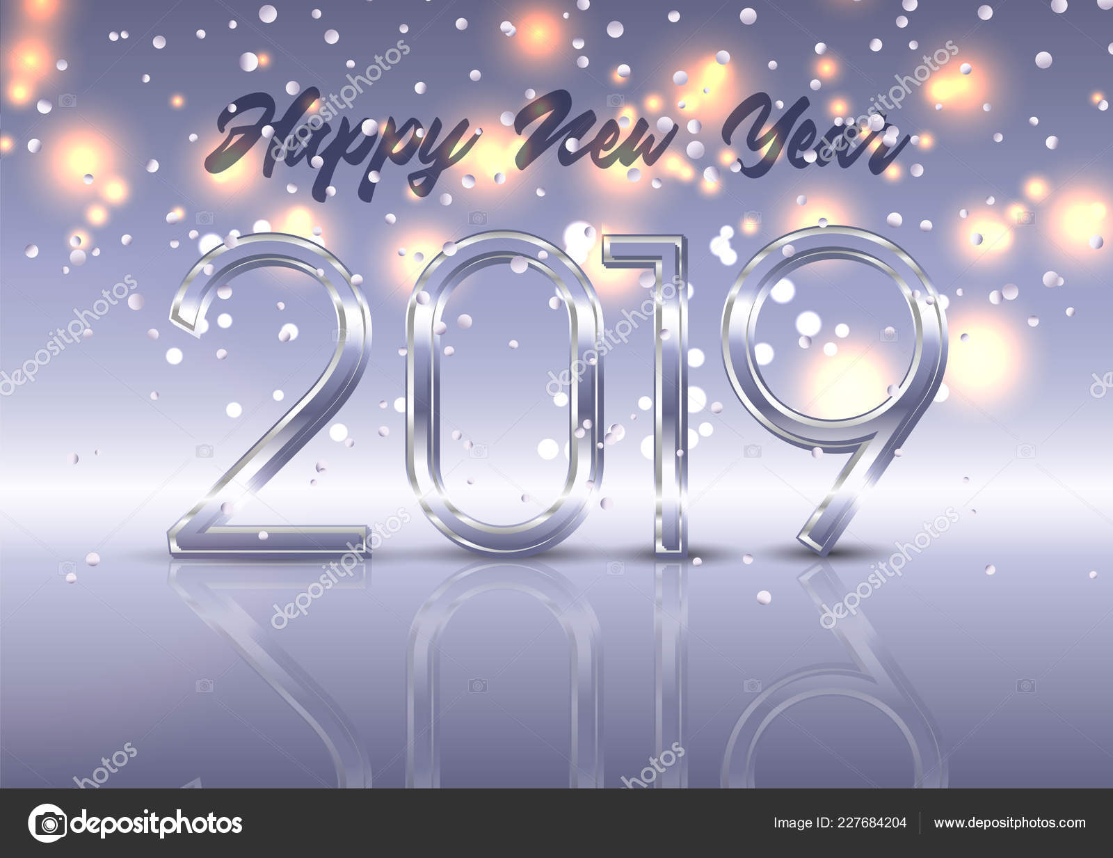 happy new year background silver numbers glowing lights stock vector