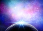 Abstract space background with colourful nebula and fictional planet