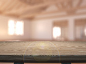 egy üres helyiségbe nézett 3D fából készült asztal