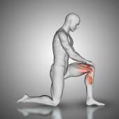 3D mužská postava s vyznačenésvaly na kolenou