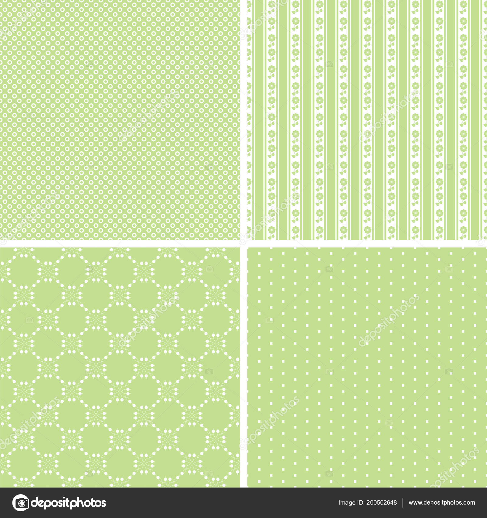 Retro Different Seamless Patterns Vector Illustration Beauty Design Stock Vector