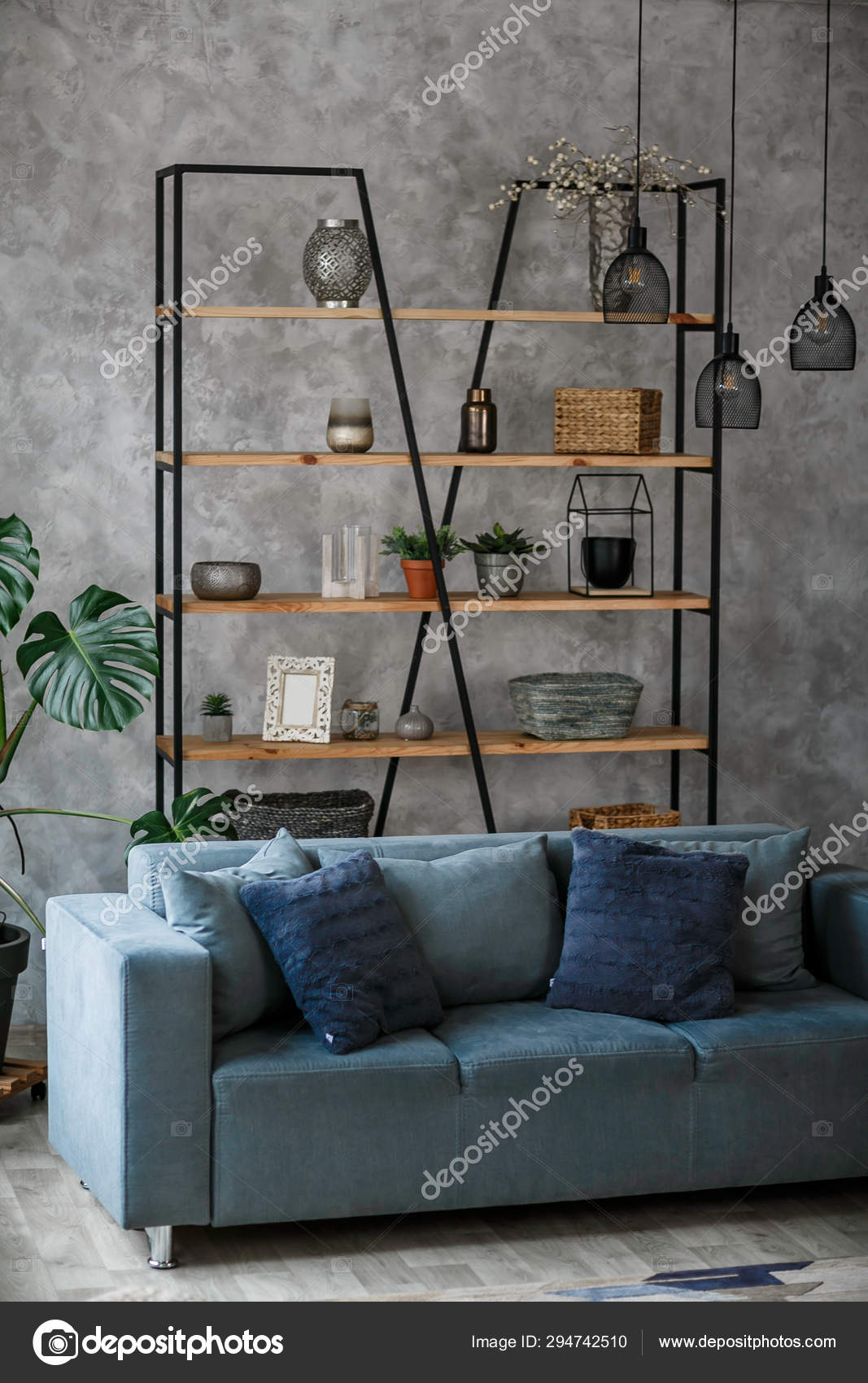 Modern Living Room Interior Blue Sofa Lamp Green Plants Grey Stock Photo Image By Pirotehnik 294742510