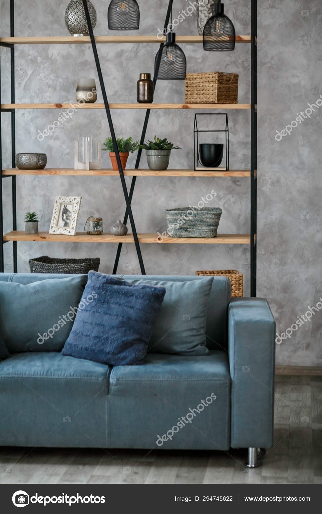 Modern Living Room Interior Blue Sofa Lamp Green Plants Grey Stock Photo Image By Pirotehnik 294745622