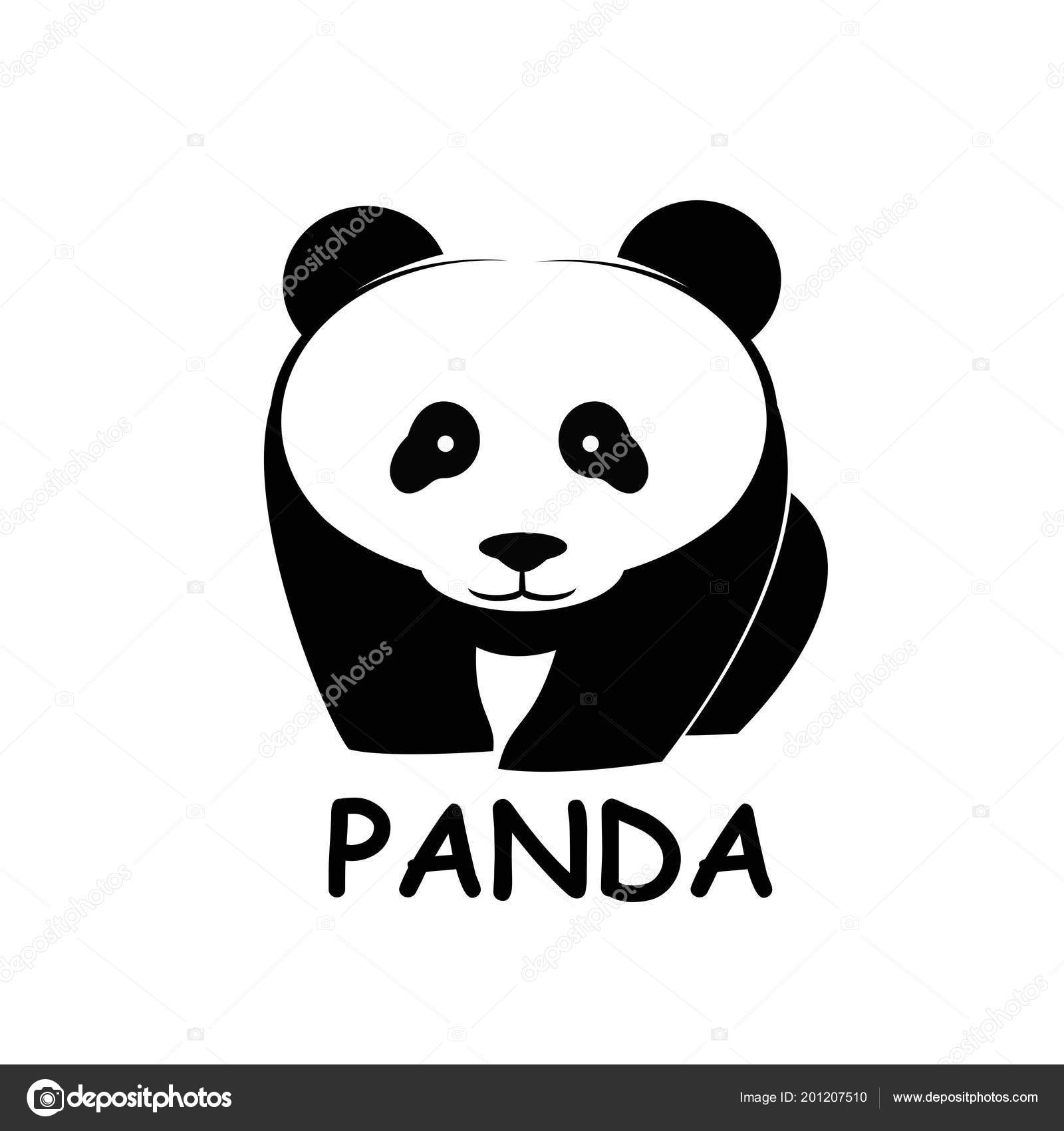 panda bear silhouette logo design vector template animal logotype