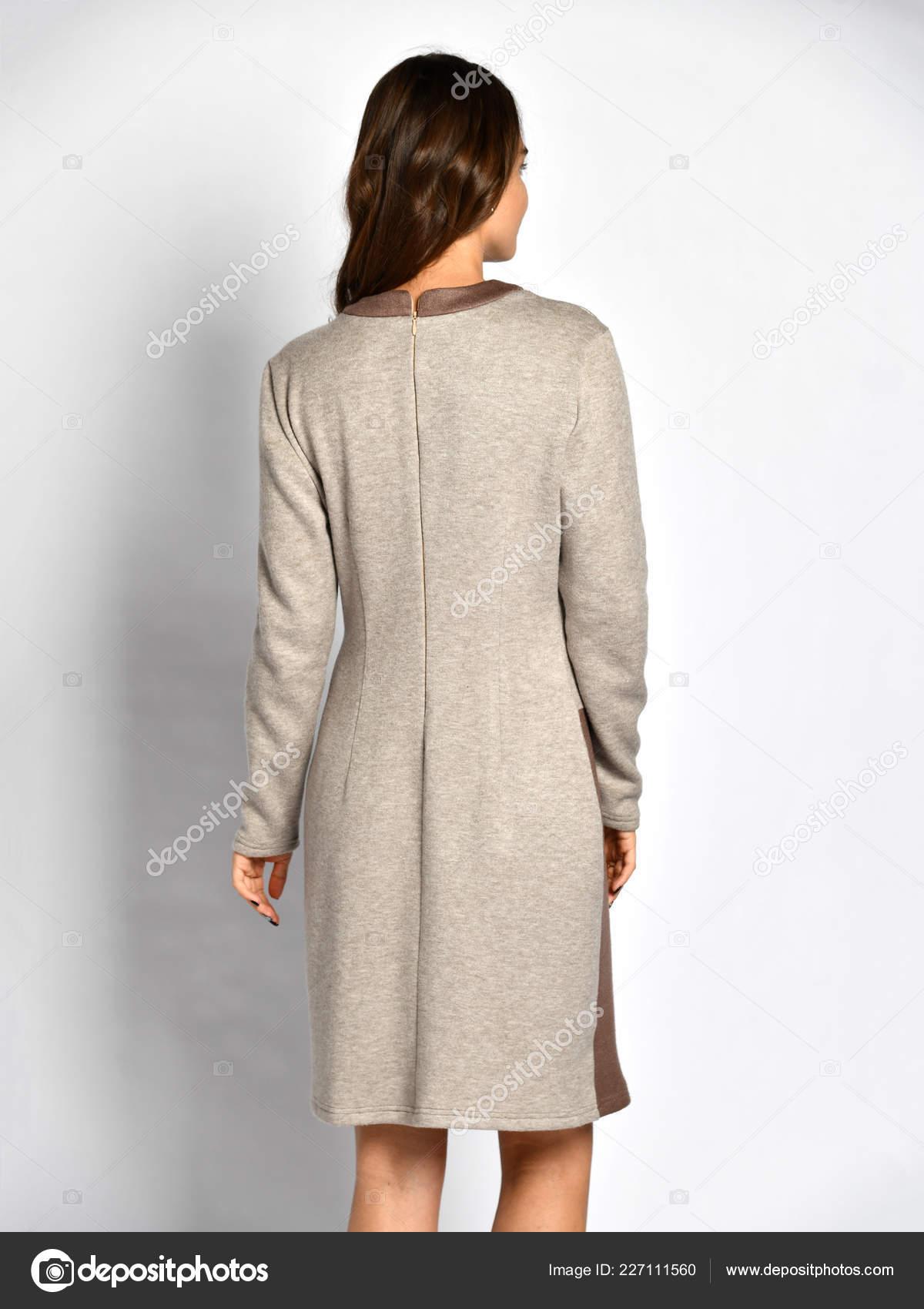 4c2a1d8ac1ddf9 Jonge mooie vrouw poseren in nieuwe grijze mode winter jurk achterkant  achteraanzicht — Stockfoto