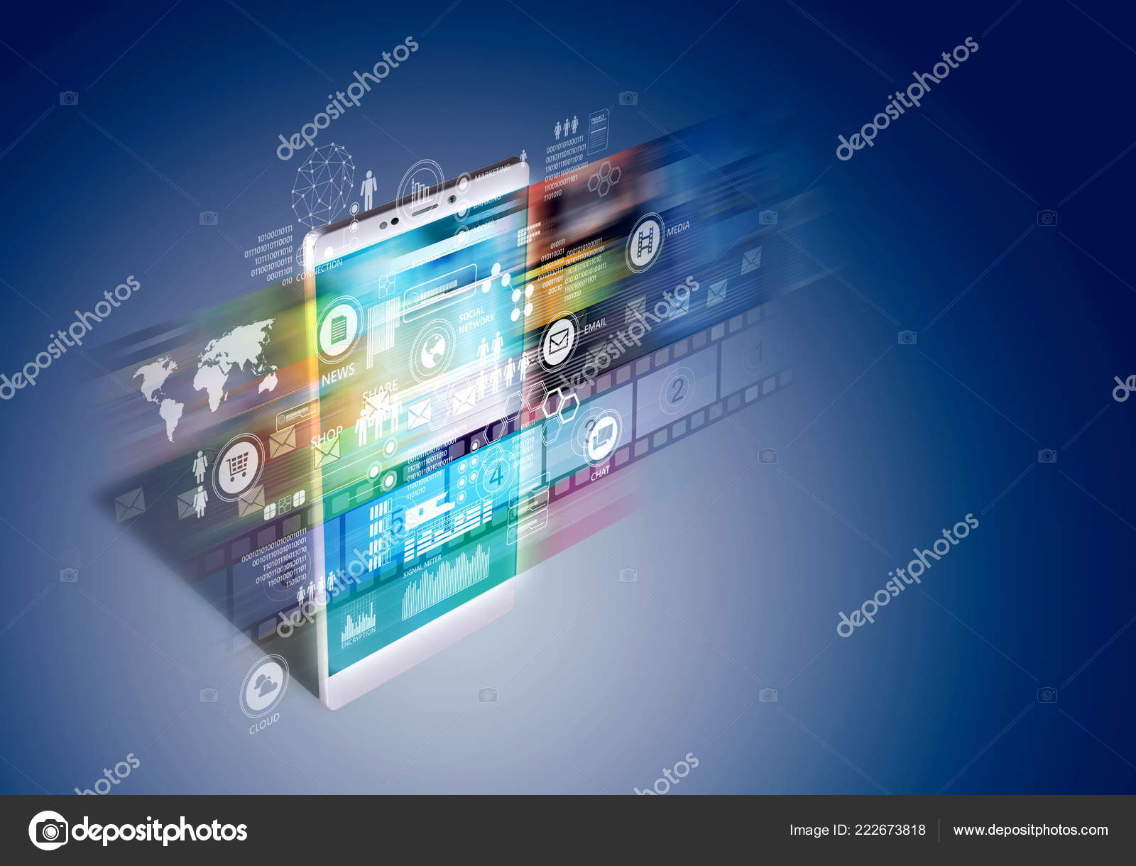 Internet Broadband Concept Smart Phone Showing Application