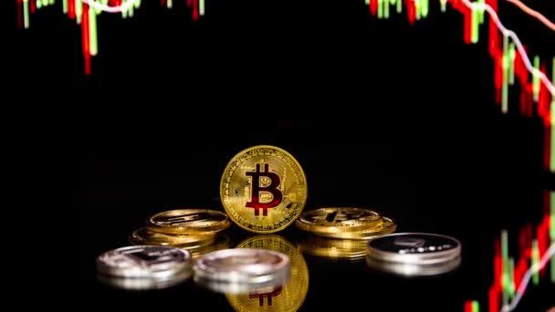 Bitcoin érmék a globális kereskedelmi exchange piaci ár chart-a háttérben