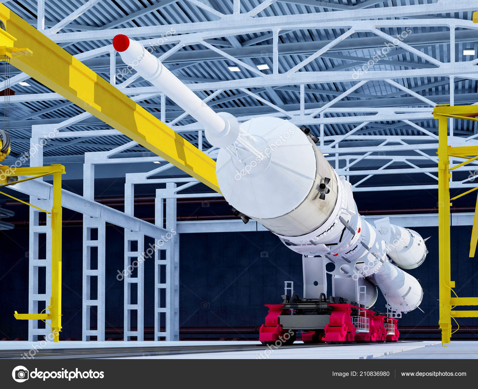Space Rocket Hangar Render — Stock Photo © Iurii #210836980