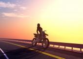 Sziluettje egy lány egy motorkerékpár., 3d render