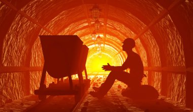 Miners with a wheelbarrow in the mine., 3d render