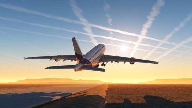 The passenger plane on the runway. 3d render