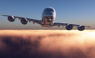 Passenger plane above the clouds. 3d render stock vector