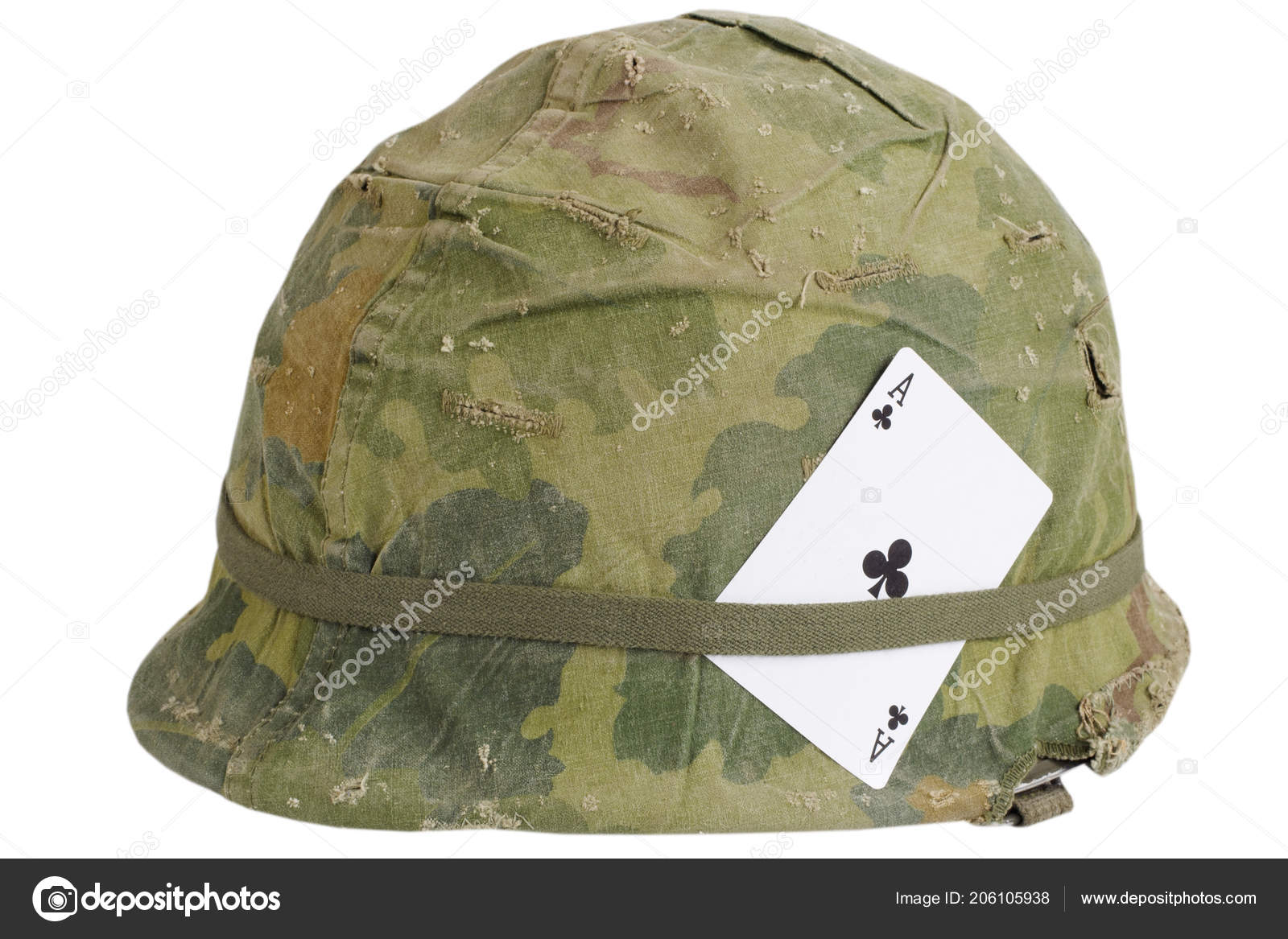 1e1ca58a US Army helmet Vietnam war period with amulet - ace of clubs playing card  isolated on white background — Photo by zim90