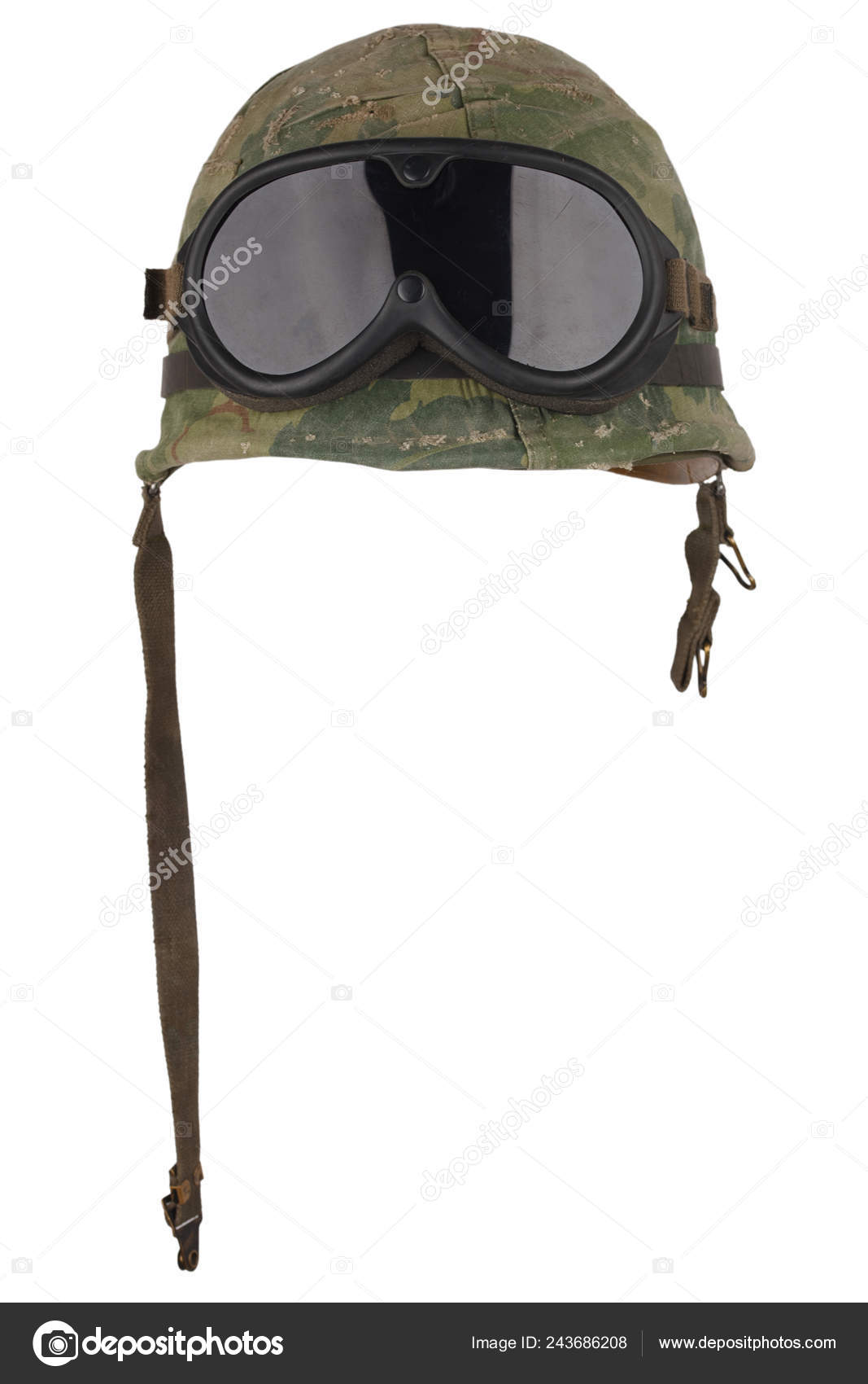 e60c3a41092 US Army helmet Vietnam war period with camouflage cover goggles and dog  tags isolated on white — Photo by ...