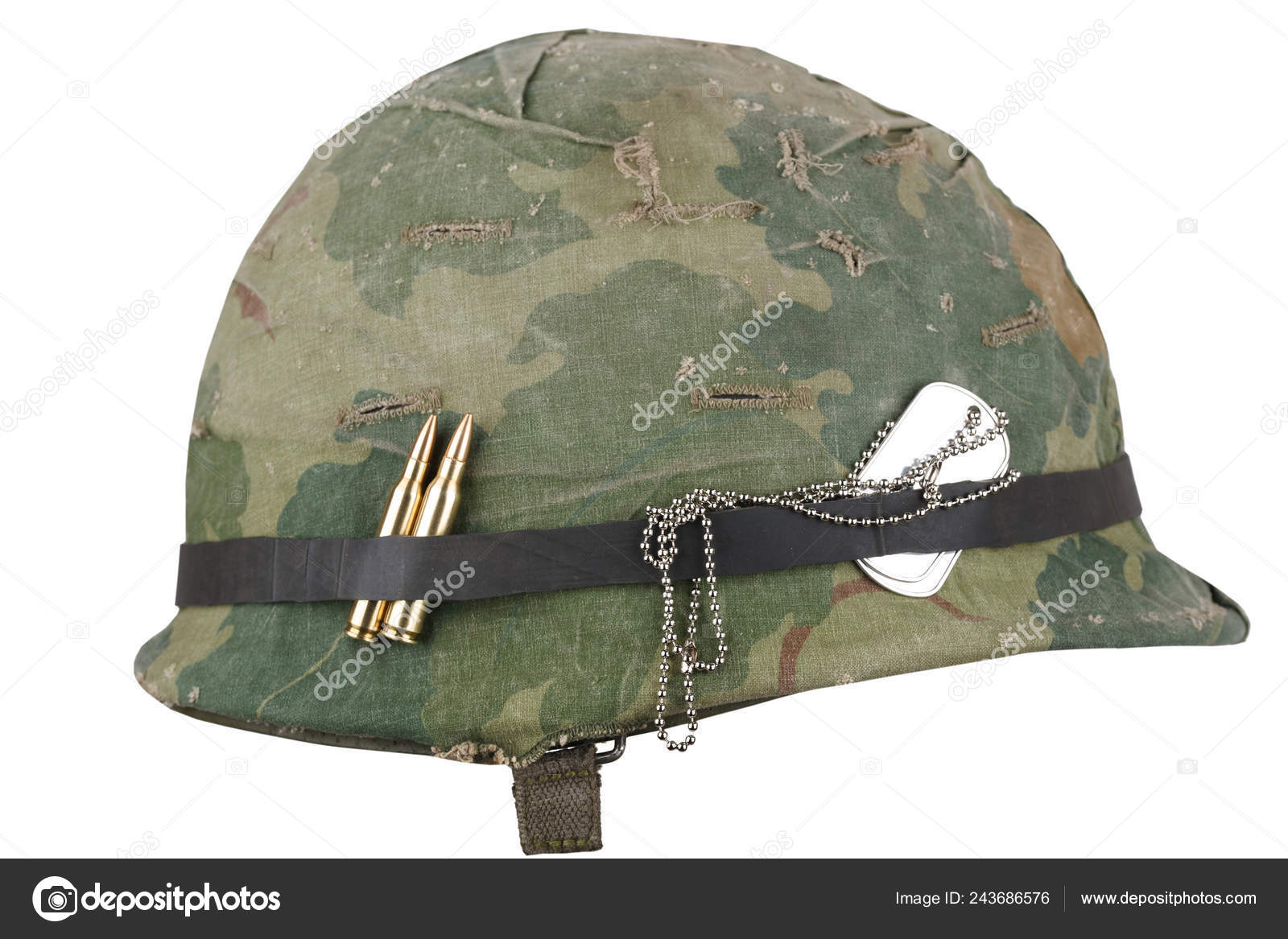 Army Helmet Vietnam War Period Camouflage Cover Goggles Dog Tags Stock Photo C Zim90 243686576